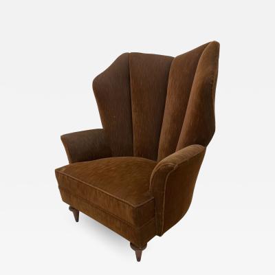 Arturo Pani Regency Modern High Wingback Arm Chair in Mohair by Arturo Pani Mexico 1940s