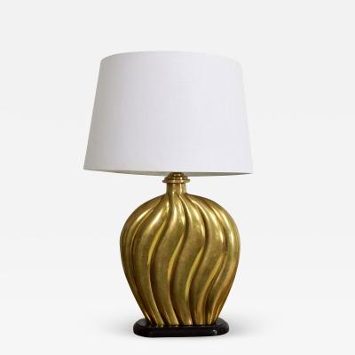 Arturo Pani Sophisticated Modern Hollywood Regency Swirled Bronze on Black Table Lamp 1940s