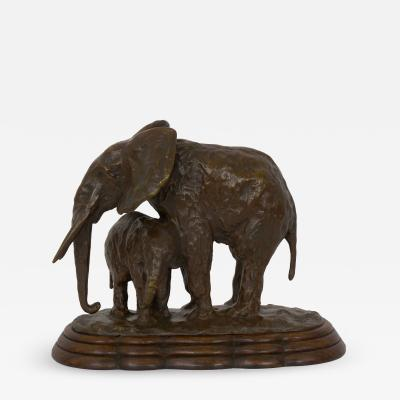 Ary Jean Leon Bitter Elephant with its Young French Modernism Bronze Sculpture by Ary Bitter