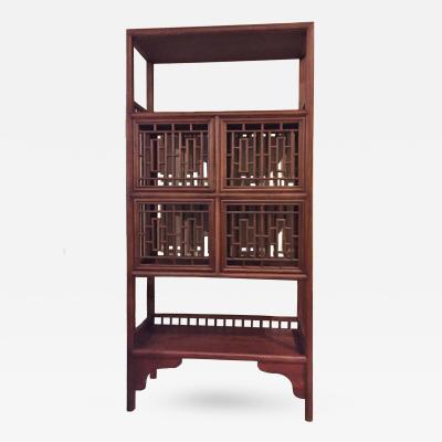 Asian Bookcase with Lattice Doors