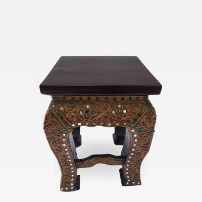 Asian Small Low Wooden Temple Gilded Table Stand