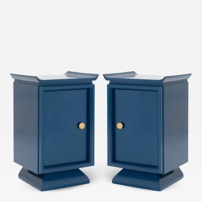 Asian Style Petite Nightstands with Brass Pulls in Marine Blue Lacquer Pair
