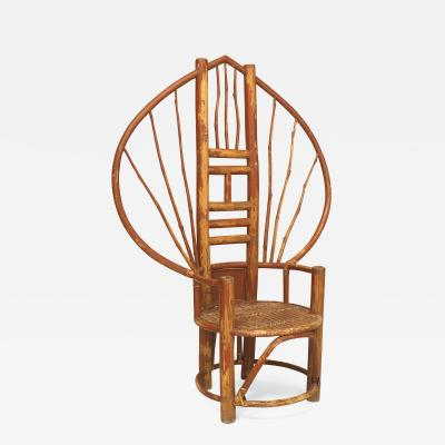 Asian bamboo fan back throne chair