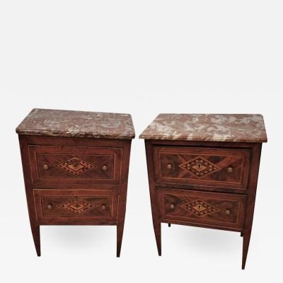 Assembled Pair of Italian Neoclassical Marble Top Small Commodes circa 1810