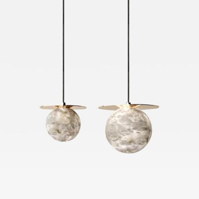 Atelier Alain Ellouz Set of 2 Alabaster Yak Pendant Light by Atelier Alain Ellouz
