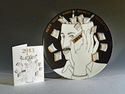 Atelier Fornasetti Barnaba Fornasetti Porcelain Calendar Plate 2013 Number 398 of 700