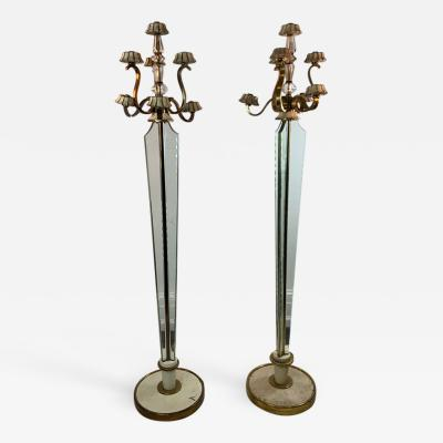 Atelier Petitot EXCEPTIONAL FRENCH ART DECO ENAMELED BRASS AND GLASS FLOOR LAMPS