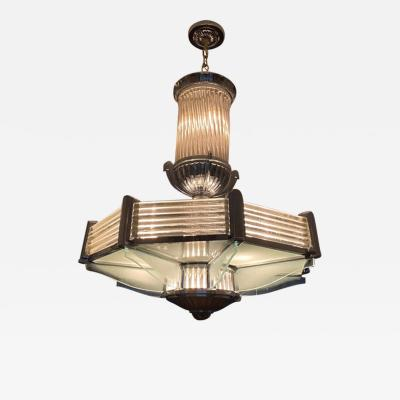 Atelier Petitot FRENCH ART DECO NICKELED BRONZE AND GLASS CHANDELIER BY ATELIER PETITOT