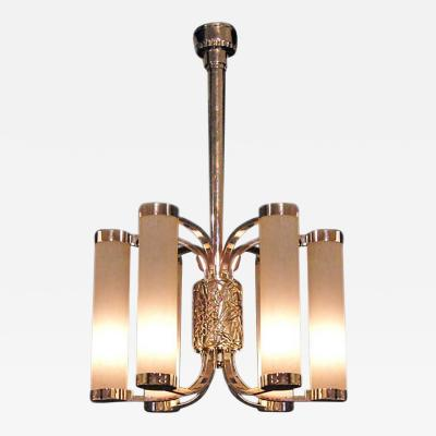 Atelier Petitot Fine French Art Deco Chrome and Glass Chandelier by Petitot