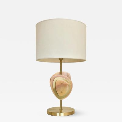 Atelier Terrai Bespoke Italian Organic Modern Amber Onyx Satin Brass Satellite Table Lamp