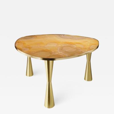 Atelier Terrai Bespoke Italian Satellite Honey Gold Onyx Oval Dining Table on Satin Brass Legs