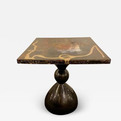 Atlas Showroom Abstract Design Center or End Table in Resin on Black Epoxy
