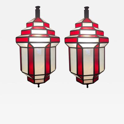 Atlas Showroom Art Deco Chandelier or Lantern White Milk and Red Glass a Pair