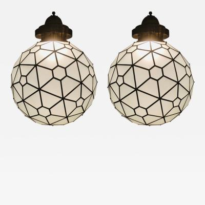 Atlas Showroom Art Deco Style Round Milk Glass and Brass Chandelier a Pair