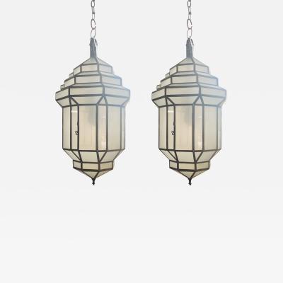 Atlas Showroom Art Deco Style White Milk Glass Handmade Chandelier Pendant Lantern a Pair