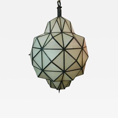 Atlas Showroom Art Deco White Milk Chandelier Pendant or Lantern in Dome Shape