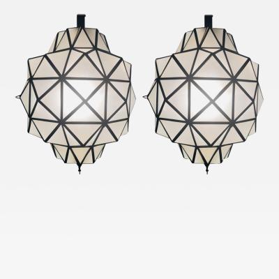 Atlas Showroom Art Deco White Milk Glass Chandelier a Pair