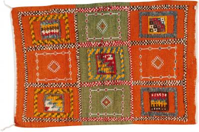 Atlas Showroom Berber Rug Small with Green and Orange Panels
