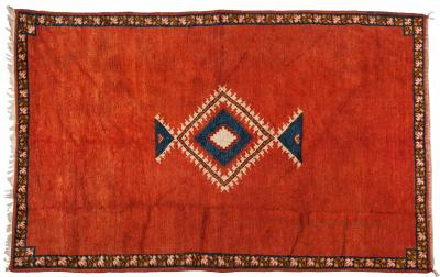 Atlas Showroom Berber Rug Tribal Handwoven Wool with Diamond on Red Background
