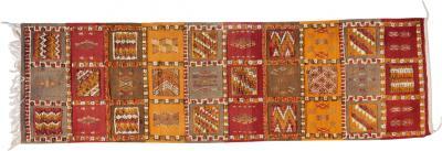 Atlas Showroom Berber Tribal Moroccan Mustard Pink and Beige Wool Runner Rug