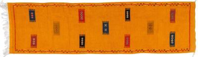 Atlas Showroom Berber Tribal Moroccan Mustard Yellow Runner Wool Rug