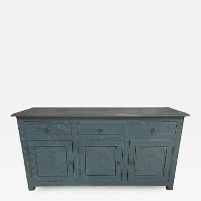 Atlas Showroom Celeste Blue Modern Moroccan Hand Carved Three Drawer Console or Dresser