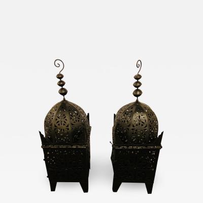 Atlas Showroom Garden Floor Lantern or Candleholder in Black a Pair