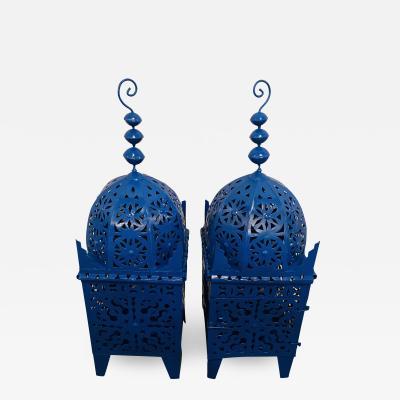Atlas Showroom Garden Floor Lantern or Candleholder in Blue a Pair