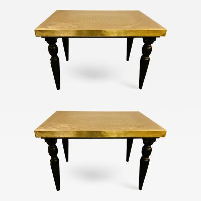 Atlas Showroom Gold Brass Coffee or Side Table Hammered Top with Hand Carved Legs a Pair
