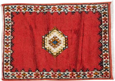 Atlas Showroom Handmade Berber Tribal Handwoven Organic Wool and Dye Small Red Rug