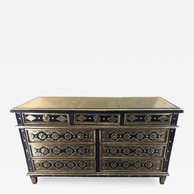 Atlas Showroom Handmade Moroccan Blue Chest Silver Metal and Copper Inlaid