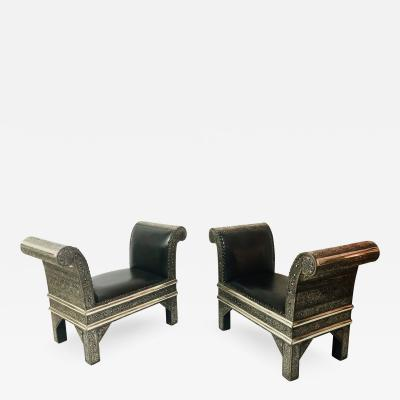 Atlas Showroom Hollywood Regency Benches Settees Chairs in Brass and Leather a Pair