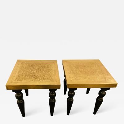 Atlas Showroom Hollywood Regency End or Side Table with Hand Carved Legs A pair