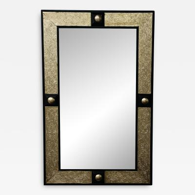 Atlas Showroom Hollywood Regency Style Moroccan Mirror in Brass and Wood Frame