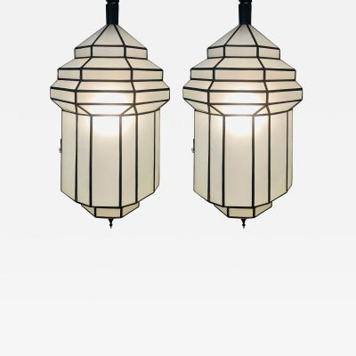 Atlas Showroom Large Dome Shaped Art Deco White Milk Glass Chandeliers or Pendant a Pair