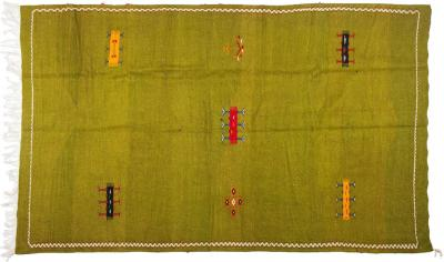 Atlas Showroom Large Green Handwoven Moroccan Berber Rug 100 Wool Organic Dye