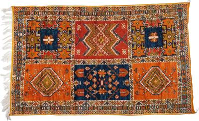 Atlas Showroom Large Handwoven Moroccan Berber Rug in Orange and Blue 100 Wool Organic Dye