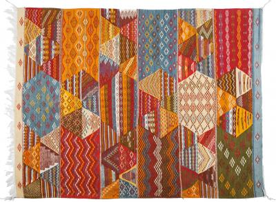 Atlas Showroom Large Handwoven MultiColor Moroccan Berber Rug 100 Wool Organic Dye
