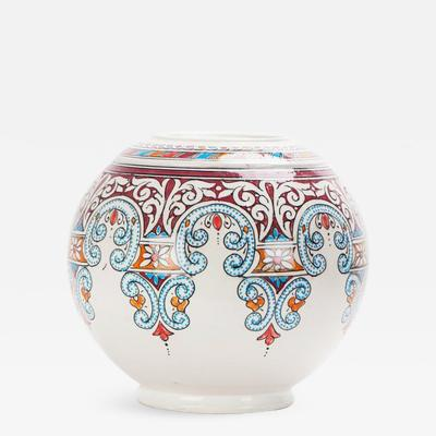 Atlas Showroom Majestic Blue and Red Round Moorish Vase