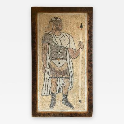 Atlas Showroom Micro Mosaic Tile Wall Plaque or Table Top of a Centurion in Wood Frame