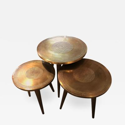Atlas Showroom Mid Century Modern Style Brass Nest of Tables or End Tables Nest of Three
