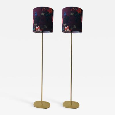 Atlas Showroom Modern Floor Lamp with Gilded iron base A Pair
