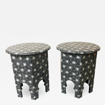 Atlas Showroom Modern Moroccan End Side or Lamp Table in Black and White a Pair