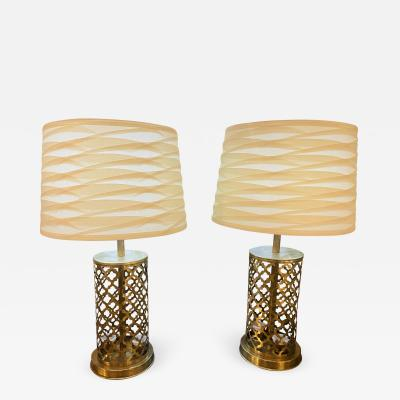 Atlas Showroom Modern Moroccan Gold Brass Table Lamp Handmade Bottom Upper Light a Pair