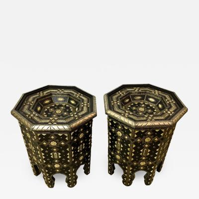 Atlas Showroom Modern Moroccan Side or End Table Ebonized Wood Brass and Bone Inlaid a Pair