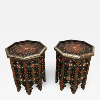 Atlas Showroom Modern Moroccan Side or End Table Ebonized Wood White Brass Bone Inlaid Pair