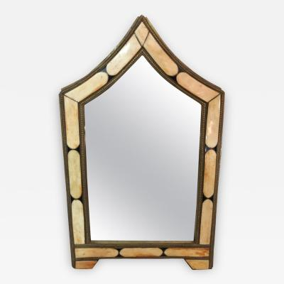 Atlas Showroom Modern Moroccan Wall or Vanity Small Mirror in White Camel Bone and Brass Inlay