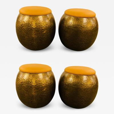 Atlas Showroom Modern Ottoman or Stool Brass with Leather Top a Set of 4