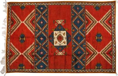 Atlas Showroom Moroccan Berber Tribal Handwoven Wool Rug 52 X 8