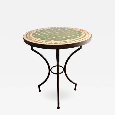Atlas Showroom Moroccan Micro Mosaic Green Tabletop on a Wrought Iron Base